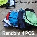 surprise men's brand underwear cotton boxers underpants fashion sexy for male low rise short trunk pants 4 pcs=pack calzoncillos