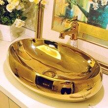 Ванная комната Искусство умывальник Овальный Золотой Цвет Ванная комната Cloakroom керамические раковины Счетчик Топ умывальник раковина для ванной раковина для мытья