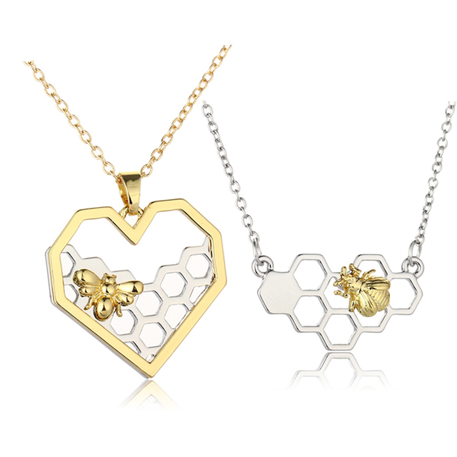 ZHIMO Charm Fashion Silver Necklaces for Women Girl Heart Honeycomb Bee Animal Pendant Choker Necklace Jewelry Party Prom Gift
