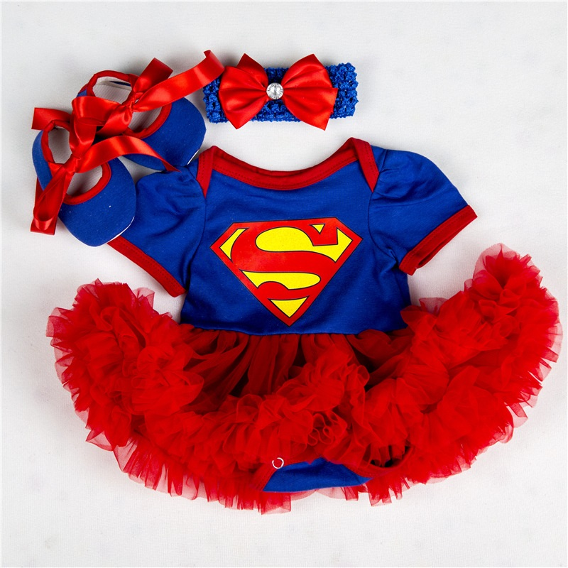 Summer Cute 3pcs Supergirl Costume for Little Girl Party Dress Cartoon Newborn Baby Girls   Romper   Dress Jumpsuit Outfits Clothes