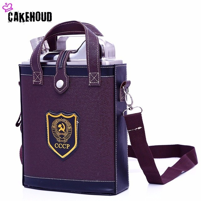 Cakehoud Stainless Steel 88 128oz Classic Cccp Design Pattern Leather Bag Drink Metal Flasks