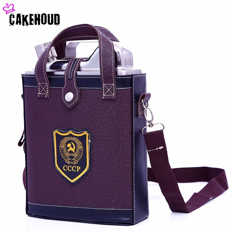 CAKEHOUD acier inoxydable 88-128 oz classique CCCP Design motif + sac en cuir boisson flacons en métal alcool whisky bouteille Wisky