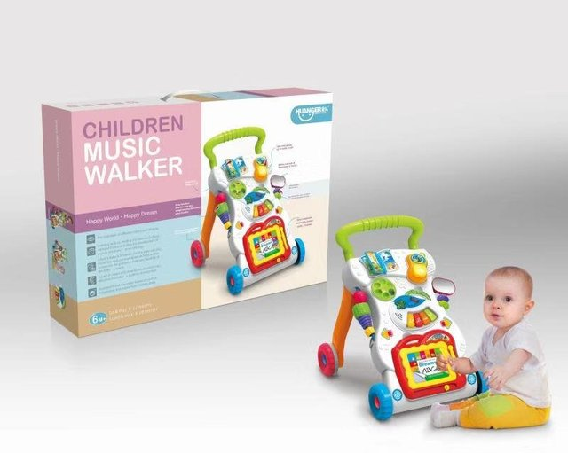 Bebé cuatro ruedas equilibrio Primeros pasos coche música educativa temprana ajustable bebé caminador niños niño carrito de asiento a- soporte de Walker