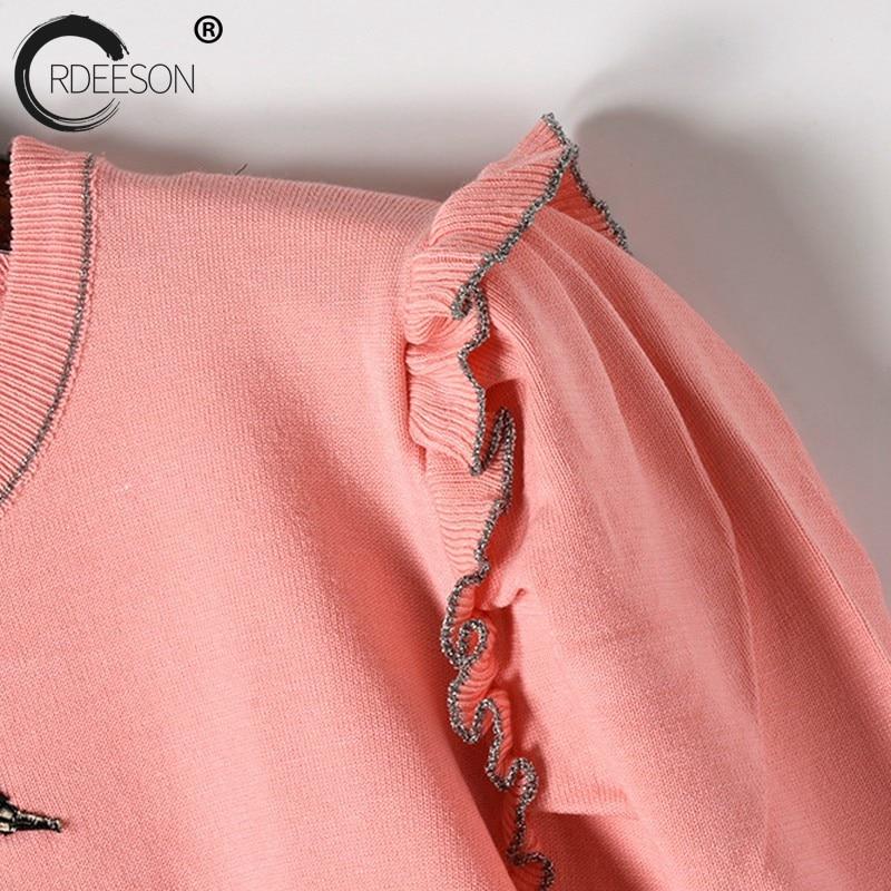 Tops Ordeeson Fleur Chandail Tricoté Femme Printemps Femmes Vêtements Pulls Mince Oiseau Broderie Appliques 2018 À Volants Rose lFK1TJc