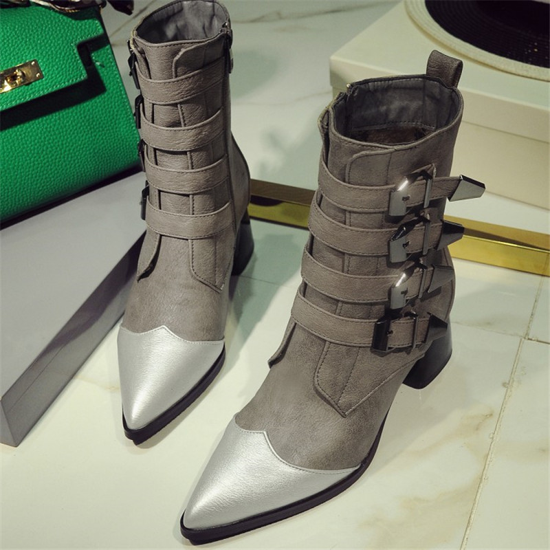 ФОТО Zipper Bordered Short Plush Pointed Toe Square Heel Mid-Calf Boots For Women Fashion Buckle Mixed Colors Riding Equestrian Shoes