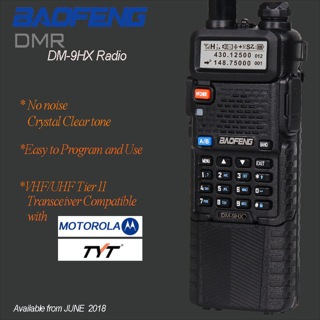 De Baofeng DM-9HX DMR de nivel II VFO Digital y analógico doble banda UHF/VHF Radio de dos vías Walkie Talkie transceptor de jamón Digital DM-5R