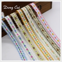 Dongcai Hot sale 5yard/lot Embroidered Lace Ribbon/Wrapping Decoration for sewing accessories DIY Gifts Crafts Hair Accessories