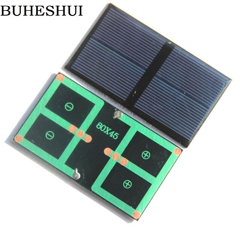 BUHESHUI Mini 0.5W <font><b>1V</b></font> Solar Panel Polycrystalline Solar Cell Batteyr Charger For <font><b>LED</b></font> Light Stduy 80*45MM Epoxy 1000pcs Epoxy