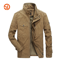 Mens Casual Jacket Spring Autumn Plus Size XXXXL Male Jacket Stand Collar Multi Pocket Solid Color Khaki Army Green L 4XL