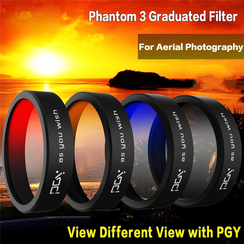 DJI Dajiang Wizard 3 phantom 3 filters, red, orange, blue and gray gradient lens accessories phantom 3