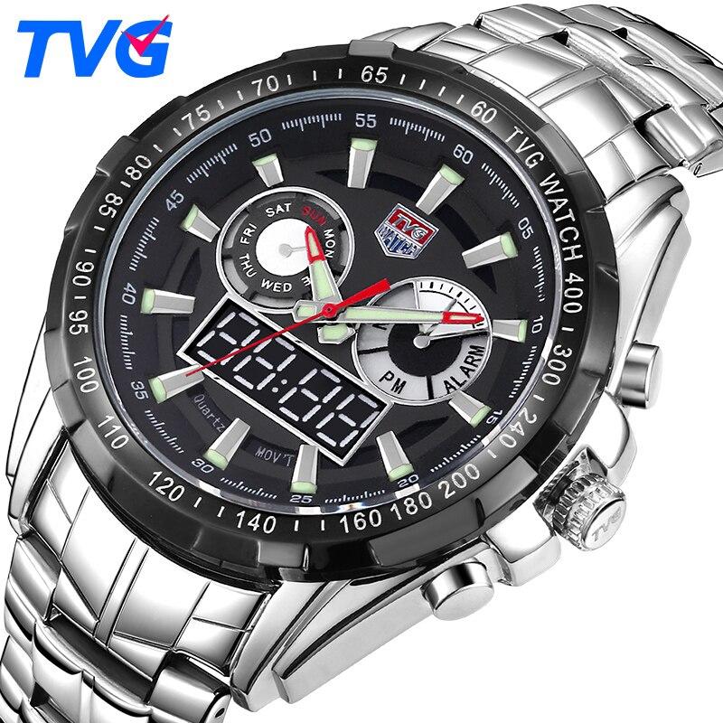TVG hommes montre 2017 Quartz montres robe mâle horloge LED en acier inoxydable quartz-montre Relogio garçons cadeau 2 PCS/lot