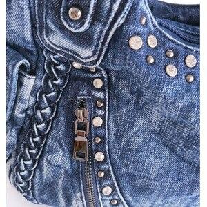 Image 4 - IPinee 브랜드 여성 가방 2020 패션 데님 핸드백 여성 청바지 어깨 가방 직조 디자인 여성 토트 백