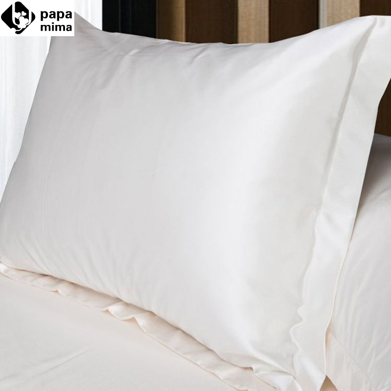 2pcs Lot White Pillowcase Faux Silk Cover Pillow Solid