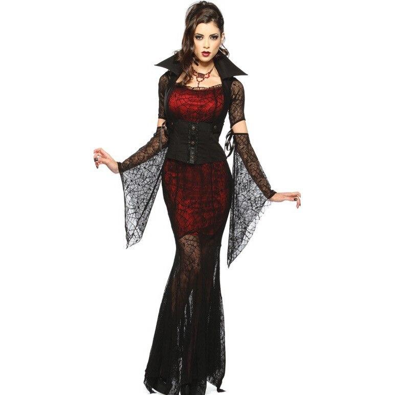 Yenilik ve Özel Kullanım'ten Önem. Gün. Kostüm.'de Kırmızı Lüks Cadılar Bayramı Seksi Yetişkin Kadın Dantel Vampir Kontes Kostümleri Cadı Kraliçe Parti Elbiseler Kadın Dram performans elbise title=