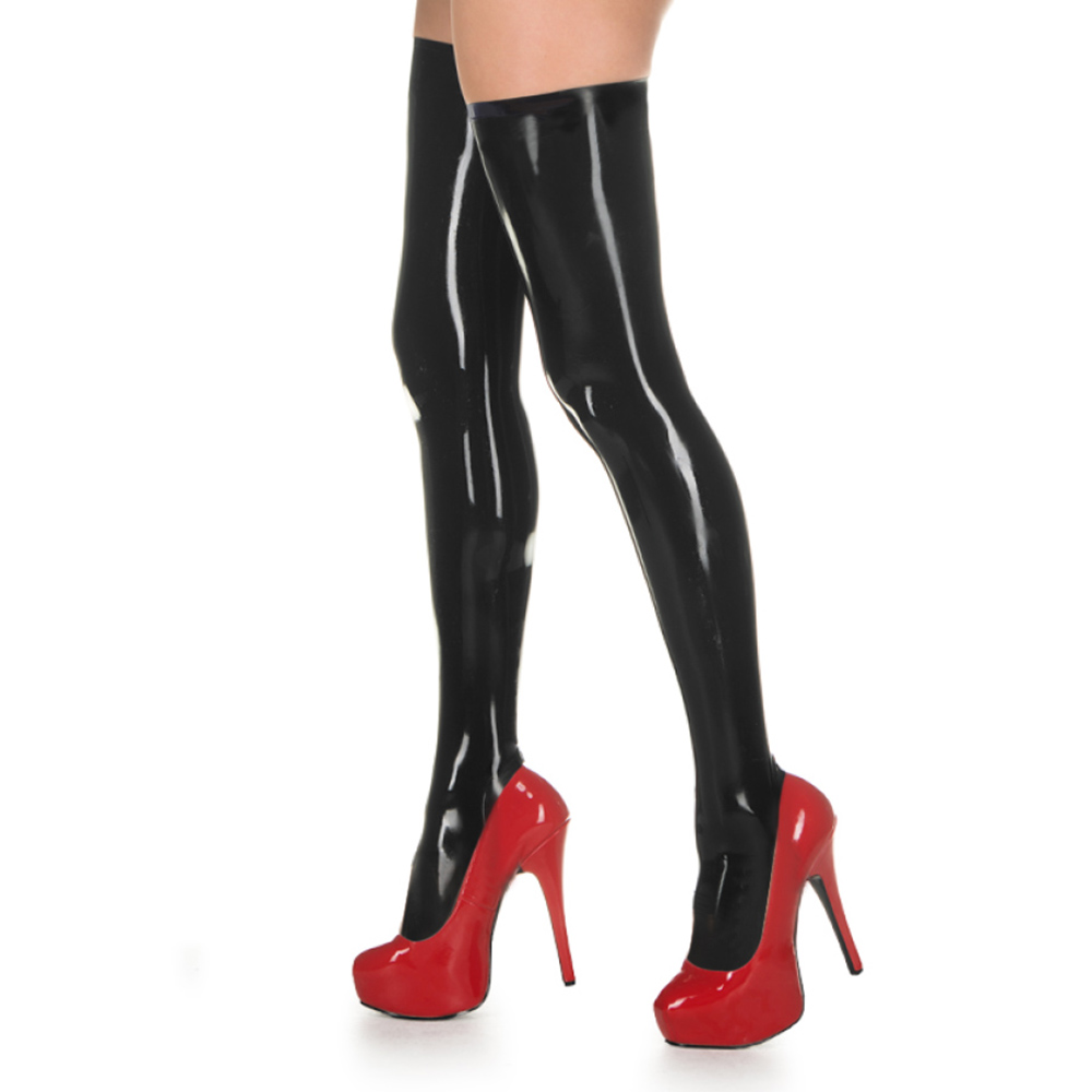 Unicolor Shiny PVC Zentai Stockings Halloween Party Composite Coatings Faux Leather Thigh High Skintight Catsuit Stocking