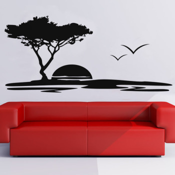 Hot Sale Big Tree And Seagulls Nature Wall Sticker Seaside Sunset Scenery Vinyl Wall Decals For Living Room Art Mural Home Decor