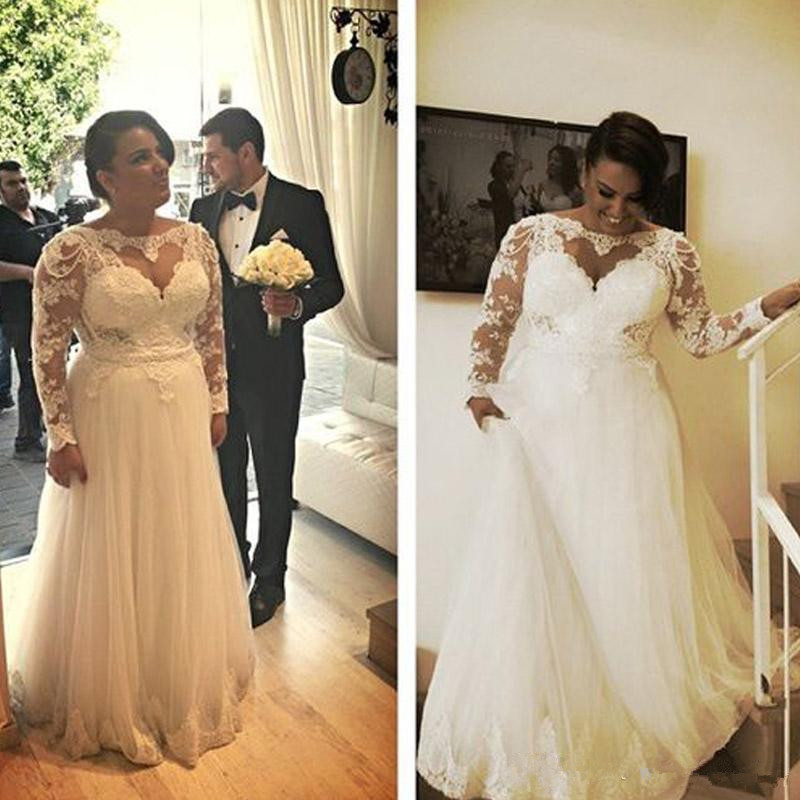 US $164.43 13% OFF|A Line Plus Size Wedding Dresses Charming Heart Shaped  Lace Appliques Top Illusion Long Sleeves Tulle Bridal Gowns with Pearls-in  ...