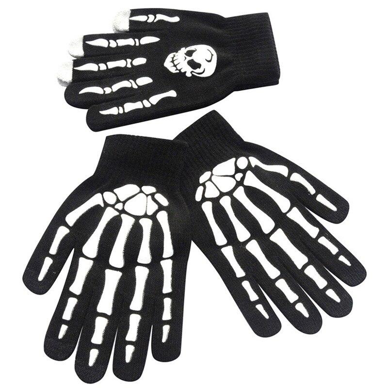 1Pair Men Skull Bone Skeleton Goth Racing Non-Slip Sports Full Finger Gloves Hand Gloves guantes eldiven handschoenen 40FE1806