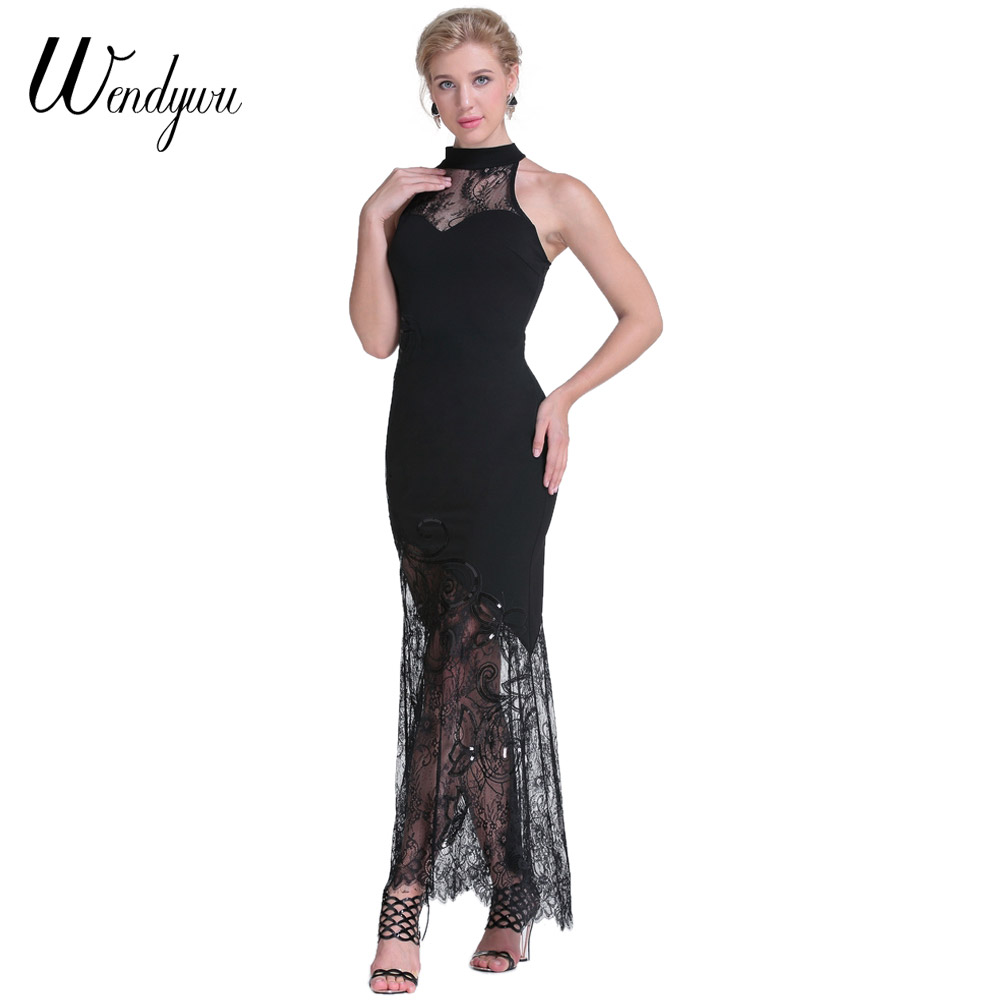 Wendywu Novelty Fashion Sexy Lace Patchwork Solid Black Prom Sleeveless Bodycon Long Dress