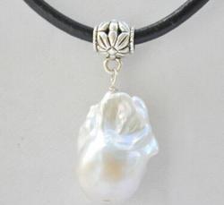Бесплатная доставка БЕЛЫЙ БАРОККО Кеши Возрожденные жемчуг подвеска кожаная ожерелье 17 дюймов
