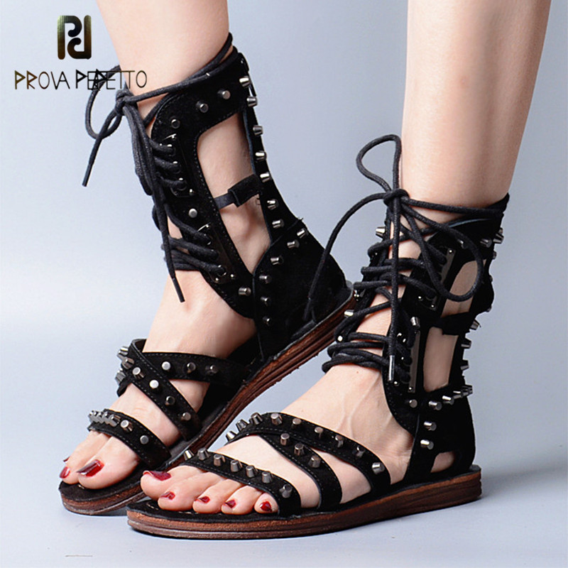 Prova Perfetto Rome Style Cross-tied Narrow Band Rivets Flat Bottom Woman Sandals Genuine Leather Lace Up Gladiator Shoes prova perfetto gladiator design cross tied peep toe hollow out low heel woman sandals elastic genuine leather lace up sandals