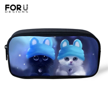 FORUDESIGNS Fantastic Cats Prints Cosmetic Bags Lady Make Up Travel Kawaii Pattern Girls Pen Children Pencil