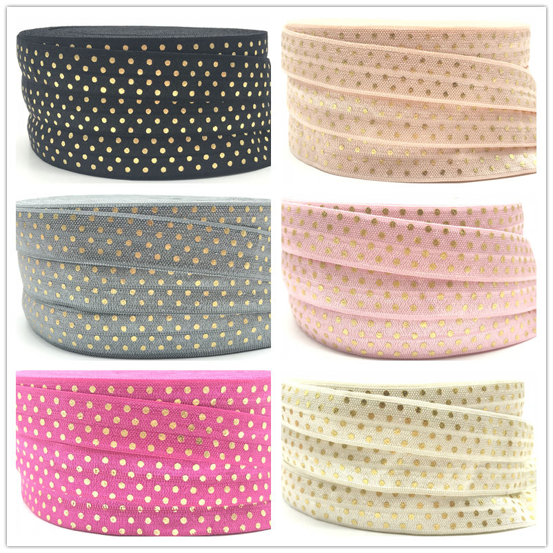 10yard Gold Foil Polka Dot Print Fold Over Elastic FOE Ribbon For DIY Apparel Sewing Accessories Headwear Elastic Band 6 Colors