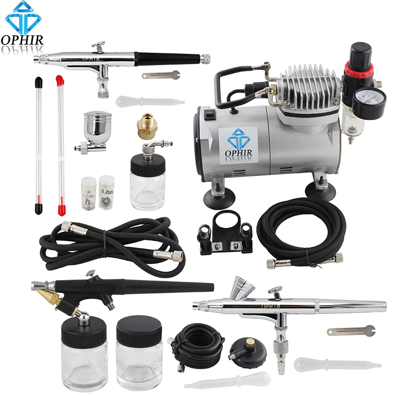 OPHIR 3x Dual-Action Single-Action Airbrush Kit  110V Air Compressor for Makeup