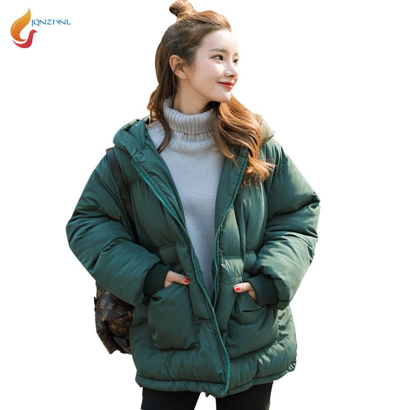 JQNZHNL 2017 Winter Down Parkas Women Medium Long Casual Cotton-padded Jackets Fashion Solid Color Hooded Loose Cotton Coats C60 2017 fashion boy winter down jackets children coats warm baby cotton parkas kids outerwears for