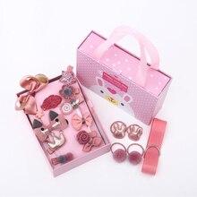 18pcs Headwear Set Child Elastic Bow knot Hair Clips Crown Rabbit Flower Barrettes Hair Pins Kids Girls Gift Box Jewelry