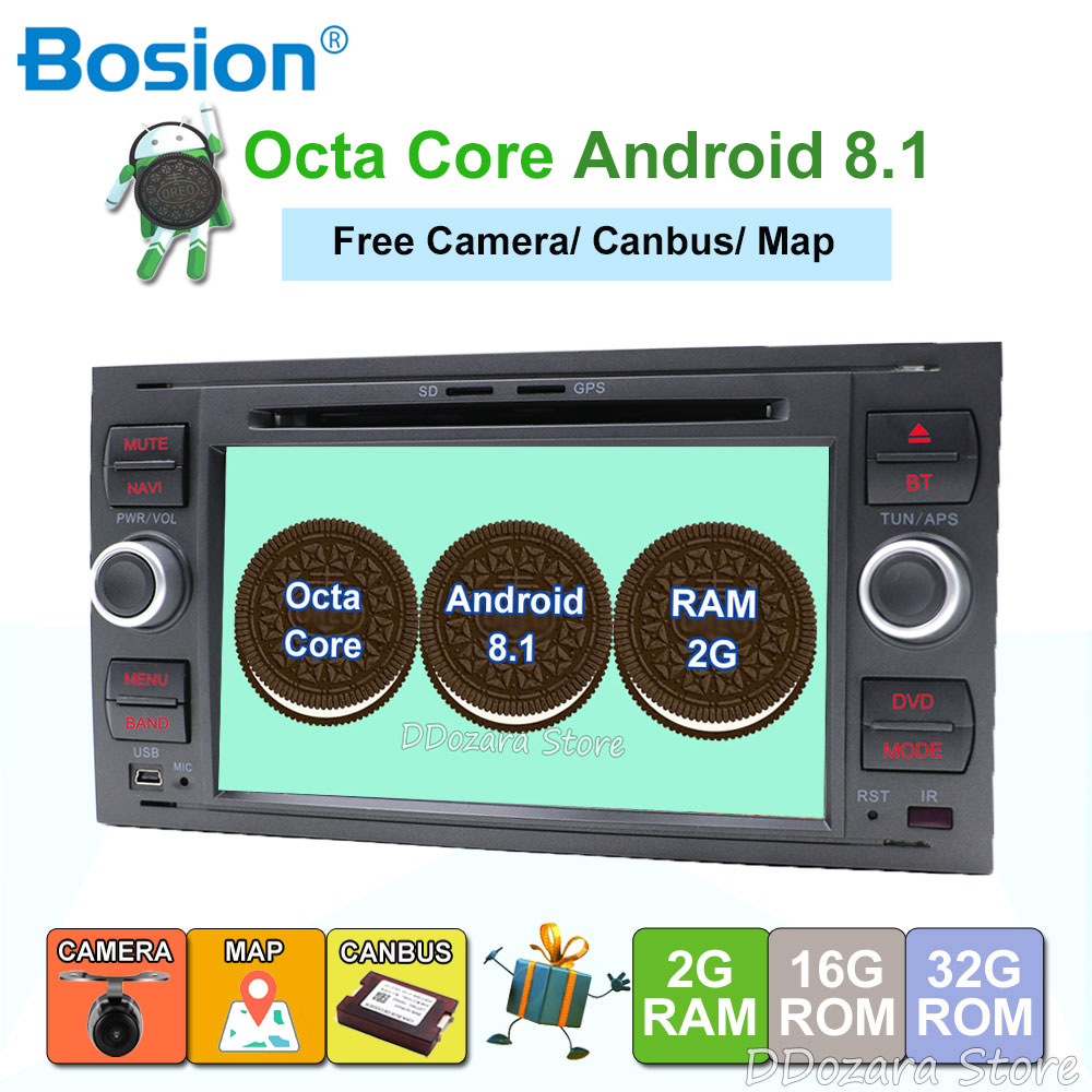 2 din Android 8.1 DAB+Car DVD Player In Dash For Ford Transit Focus Connect S MAX Kuga Mondeo Octa Core Wifi 4G GPS Bluetooth