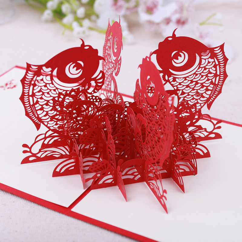 Chinese Happy New Year 3D Fish Personalized Handmade 3D Greeting ...