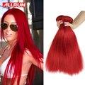 3 Bundles Malaysian Virgin Hair Ombre Red Color Straight Virgin Hair Bundle Deals 100g/PC Cheap Brazilian Human Hair Bundles