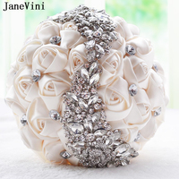 JaneVini 2018 Luxury Ivory Satin Rose Wedding Bouquets with Crystal Diamond Artificial Bridal Bouquets Women Wedding Accessories