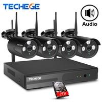 Techege Wireless CCTV System 4CH 1080P Wireless NVR 2 0MP WiFi IP Camera Audio Record CCTV