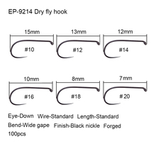 Eupheng 100pcs Competition Fly Fishing Hook Barbless No Barb hook Fishing Dry Nymph Shirmp Wet Caddis Fly Hook Black Nickle New