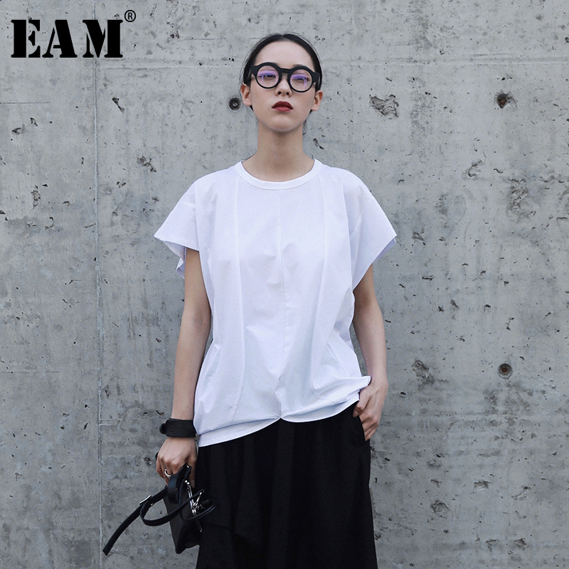 [EAM] 2019New Spring Summer  Fashion  Black Short Sleeve O-neck Simple All-match Patchwork Irregular Casual Woman T-shirt S603