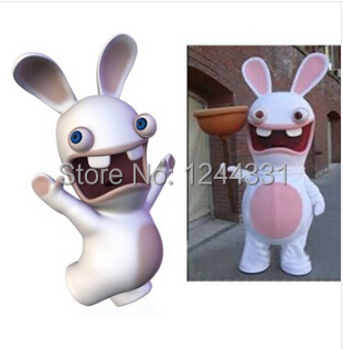 hot sale mascot pink rayman raving rabbit mascot costume adult size fancy dress for christmas halloween - Raving Rabbids Halloween Costume