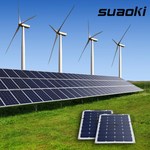 Suaoki 100W Solar Panel high efficiency conversion Sunpower Solar Cell Battery Charger with MC4 Connector on RV Boat Cabin