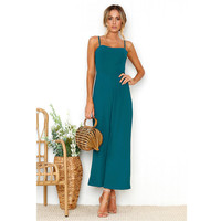 Womens Solid Color Straps Jumpsuit Zipper Holiday Playsuit Ladies Long Beach Spring Summer Jumpsuit For Women