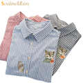 2016 new women Squirrel embroidery stripe  blouses woman college fox stitching collar long-sleeved cotton shirt female tops