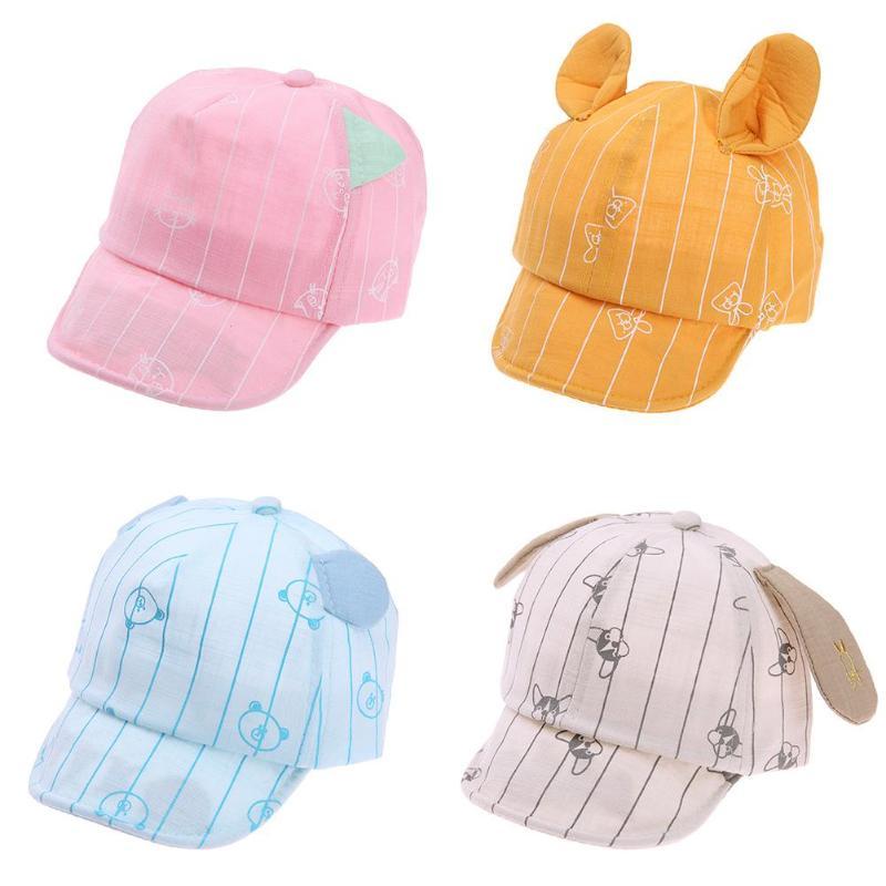 Girls Boys Baby Caps Summer Spring Cartoon Cat Print with Ear Cotton Soft Sun Hats for Chidren Boy Baby Hat