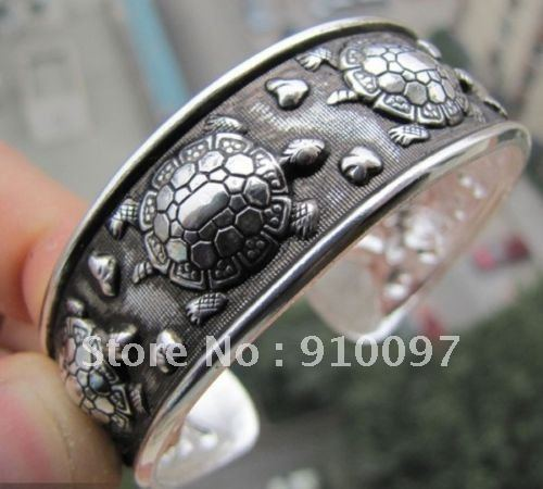 Оптовых 10 шт.>>>>> Тибетский Тибет Серебряные Черепаха Браслет Браслет Манжеты Браслет 007