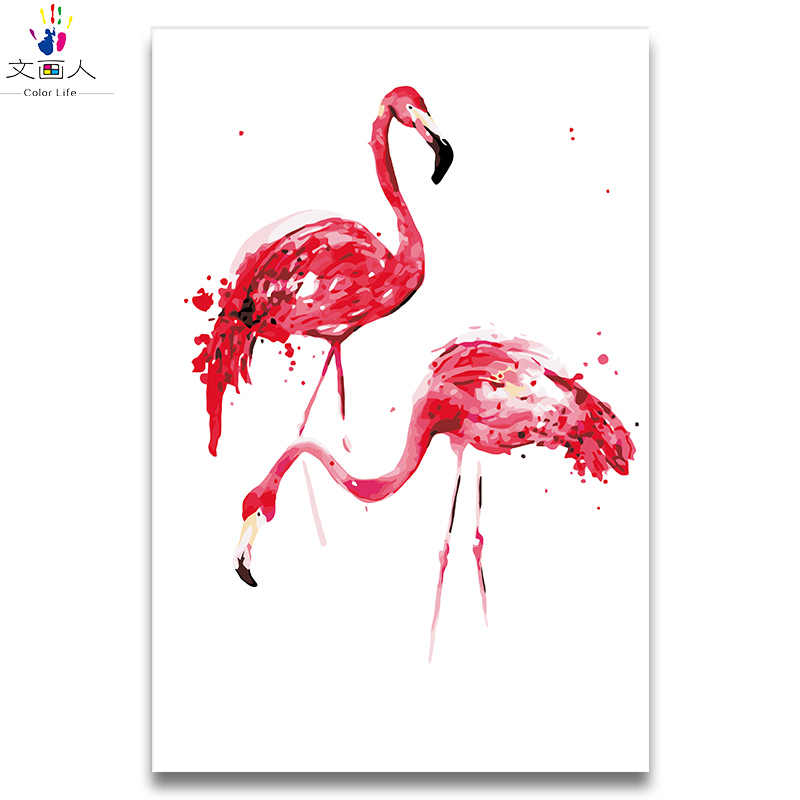 Boyama Sayilar Cift Flamingo Hayvanlar Boyalar Renk Tuval Cizim