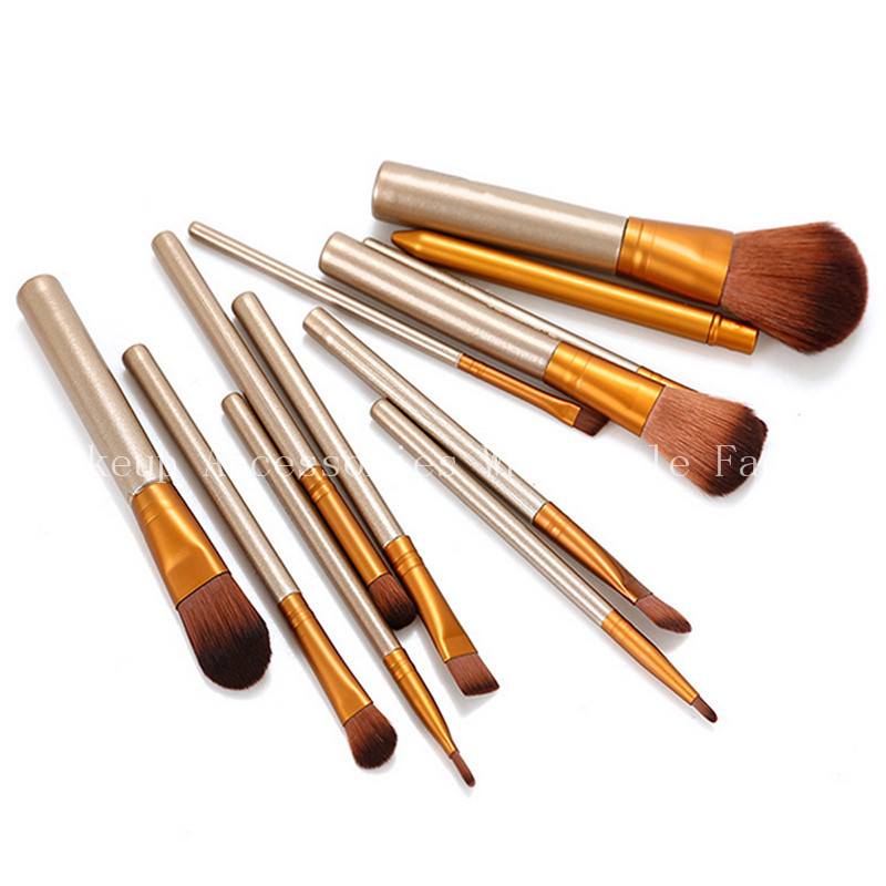 Professional Cosmetic Soft 12pcs Makeup Brushes 200 Set Eyeshadow Blush Foundation Brush Set Make Up Tools For Girl professional bullet style cosmetic make up foundation soft brush golden white