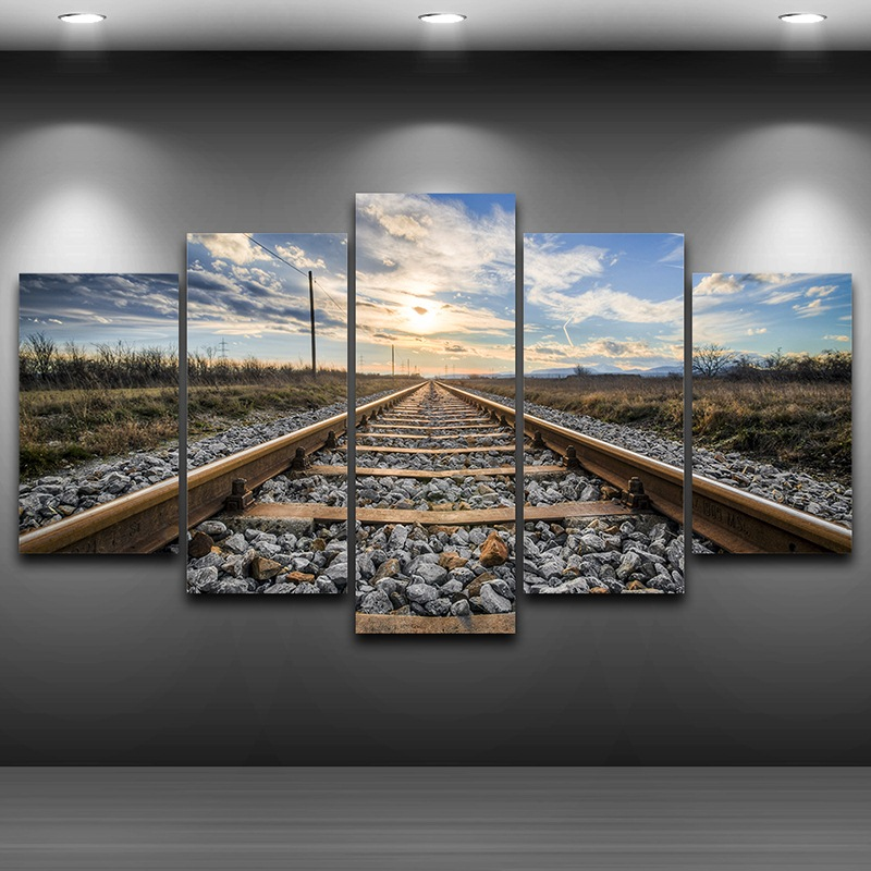 Spray Oil Painting Decoration HD Printed Home Decor Artistic Print Painting on Canvas wall art pictures Framed Railway AE0171