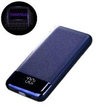 Блок питания для xiaomi mi iPhone, высокая емкость Pover Bank 30000 mAh светодиодный портативное зарядное устройство с дисплеем Внешняя батарея Poverbank Быстрая зарядка