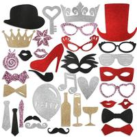 PBPBOX 36pcs DIY Red Lips Glasses Bow Ties Moustache Wedding Birthday Party Decorations Photo Booth Props