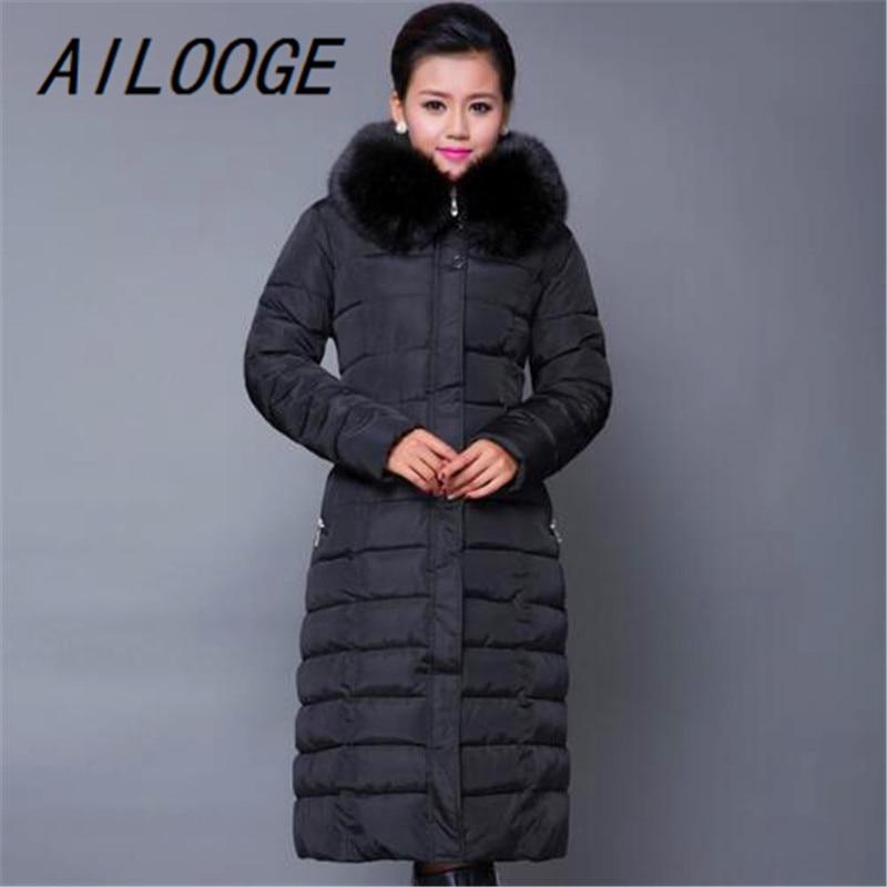 AILOOGE Maxi abrigo de Invierno 2017 nueva chaqueta de invierno Casual de talla grande abrigo de mujer grueso X largo de algodón Parkas Casaco Feminino