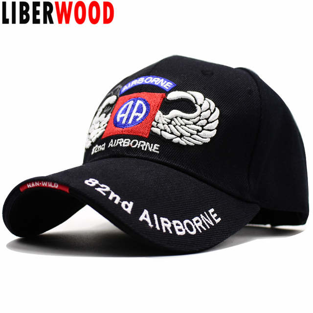 LIBERWOOD US Army 82nd Airborne Division with Wings Embroidered Ball Cap  Troops 3D Baseball Cap USA 332bbcbddfa